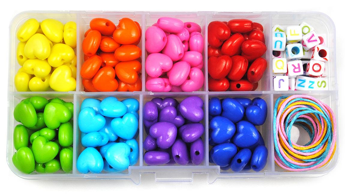 zestaw koralików serduszek - 8 kolorów