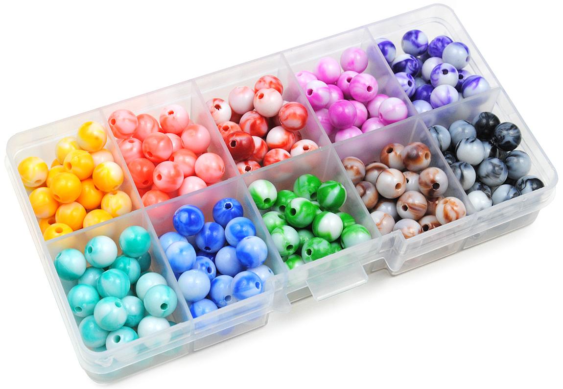 zestaw koralików smużonych - 10 kolorów